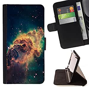 DEVIL CASE - FOR Samsung Galaxy A3 - Galaxy Space Dust Gas Stars Cluster Yellow - Style PU Leather Case Wallet Flip Stand Flap Closure Cover