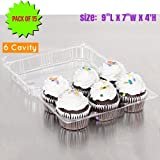 6 Cavity Cupcake Container Strong and Sturdy, BPA Free, Cupcake and Muffin Containers with Superior Hinged Lid,crystal Clear Plastic cupcake containers( pack of 15, 6-Compartment)