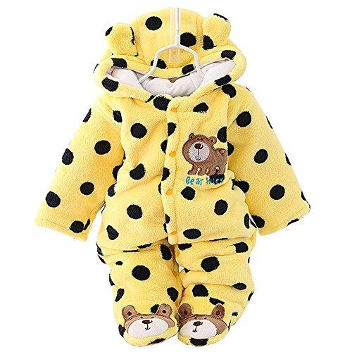 SONGGUIYING Newborn Baby Boy Clothing Fleece Winter Girl Romper Cartoon Infant Babies Clothes Bear Snowsuit Pink Blue Jumpsuits (0-3 Months, Yellow)