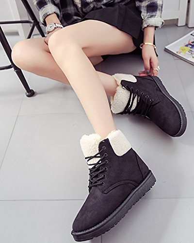 Minetom Mujer Invierno Talón Plano Algodón Botas Térmico Cordones Zapatos Martin Botas Felpa Forro Botas Negro