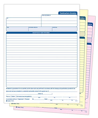 Adams Contractors Invoice Book 8.38 x 11.44 Inch, 3-Part, Carbonless, 50 Sets, White, Canary, Pink (TC8122)