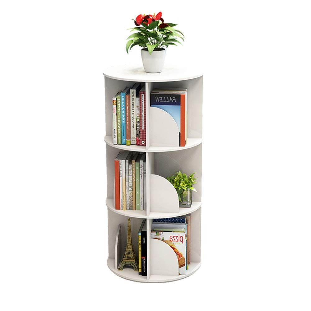 White H-97CM XIAOYAN Shelves 360° redating Bookshelf Floor-Standing Bookcase Multi-Function Rack Round Bookcase 2 Layers Can Hold 50 Books White Pink Green (color   Green, Size   H-97CM)
