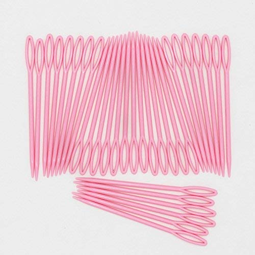 LONG TAO 100PCS Ideal for crafts Plastic Lacing Needles- Plastic Hand Sewing Yarn Darning Tapestry Needles (Pink,9cm)