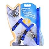Pawaca Cat Harness Leash, Adjustable H Harness Nylon Strap Collar with Leash,Soft and Easy to Walking
