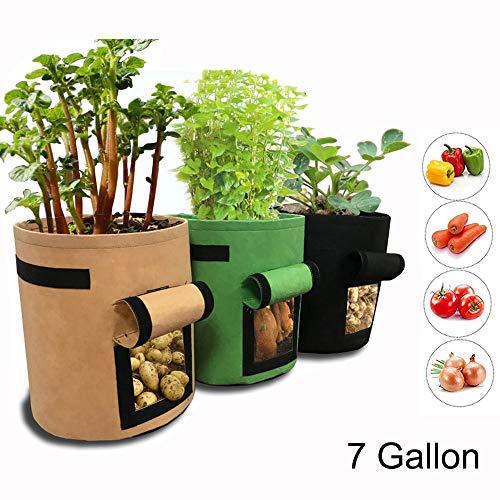3 Pack Potato Grow Bag, Homeself 7 Gallon Aeration Waterproof Fabric Sweet Potato Planter, Velcro Window Vegetable Peanut Growing Box Bucket Pot for Nursery Garden (3 Pack, Black Brown ()