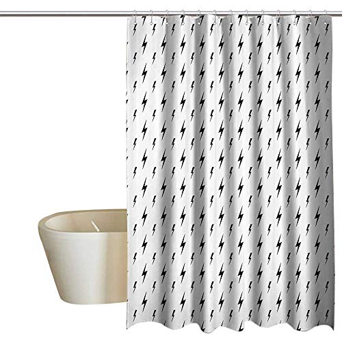 Anshesix Black and White Funny Shower Curtain Thunderbolts Zig Zag Pattern Electric Charge Simple Stylized Illustration Non Toxic, Eco-Friendly 72