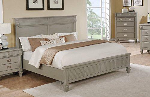 Roundhill Furniture B204K York 204 Antique Grey King Strorage Platform Bed