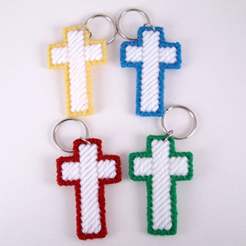 4 Easter Cross Key Rings in Yellow Green Red Blue