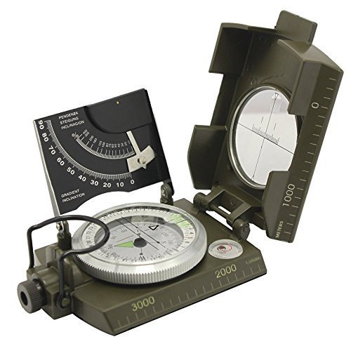 Beileshi Professional Multifunction Military Army Metal Sighting Compass W/inclinometer Camping and Hiking Waterproof Compass