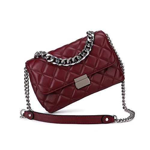 Quilted Leather Crossbody Bags For Women Designer Shoulder Handbags Purse With Metal Chain Strap (Burgundy)