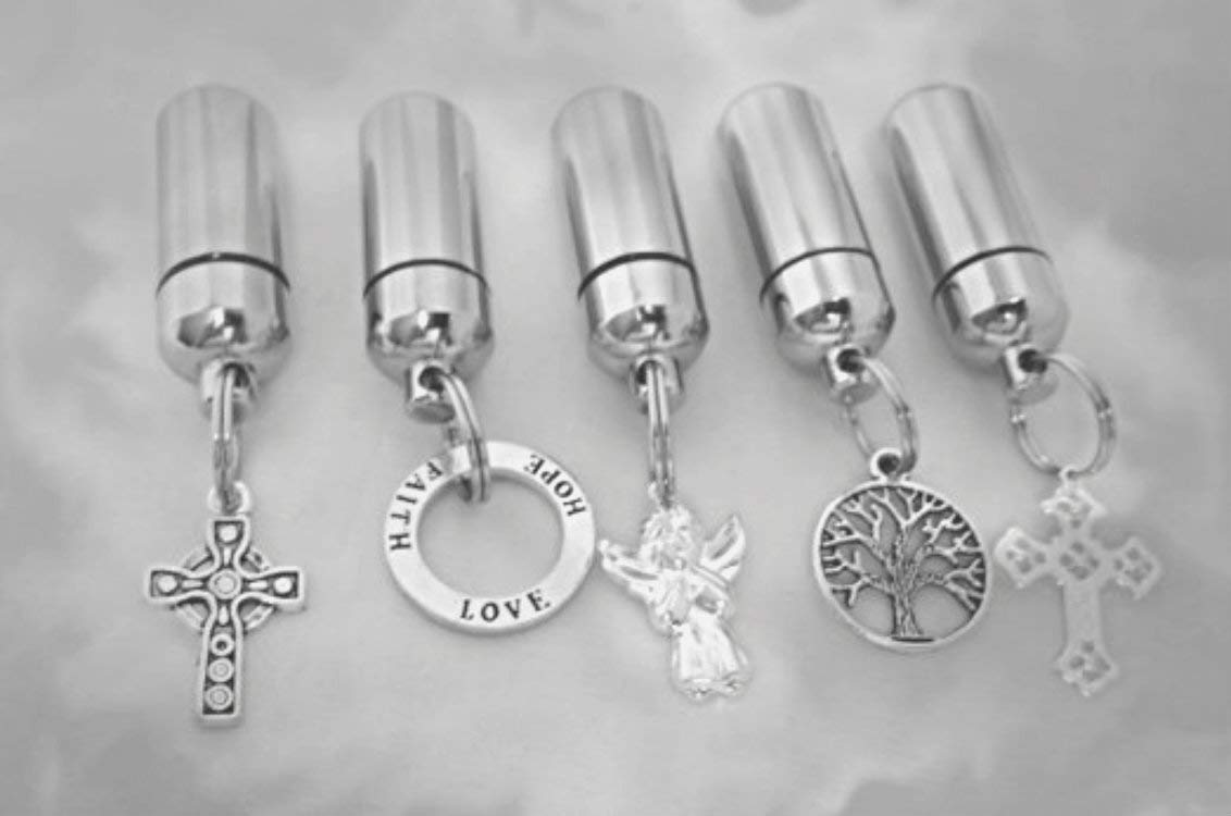 Pasco Specialty Products Assortment of Five Silver Cremation URN Keepsakes - Celtic Cross/Angel/Tree of Life/Love-Hope-Faith/Lace Cross - Includes Pouches, Chains, Fill Kit