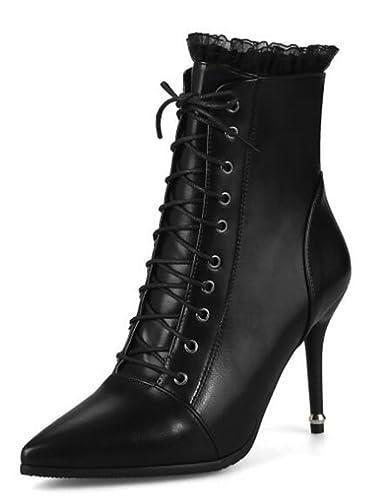 Easemax Damen Schick Spitze Zehe Cross Schnürung Ankle Boots Mit Stilettos Schwarz 44 EU F1nWJkLrR