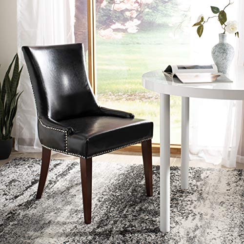 Safavieh Mercer Collection Eva Leather Dining Chair with Trim Nail Head, Black