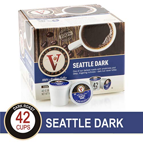Seattle Dark for K-Cup Keurig 2.0 Brewers, 42 Count, Victor Allen's Coffee Dark Roast Single Serve Coffee Pods