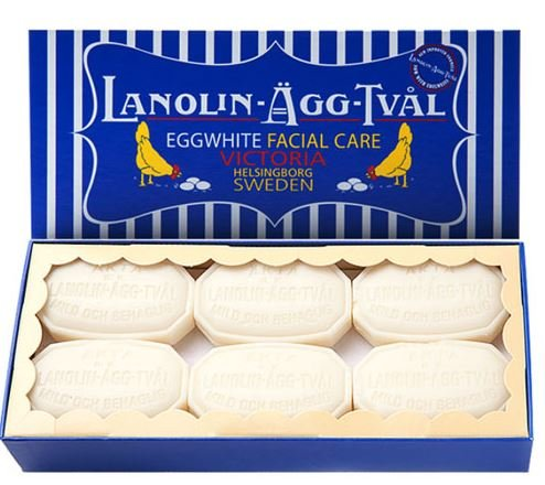 Lanolin-Agg-Tval Swedish Eggwhite Facial Soap – 1 Box of 6 Bars