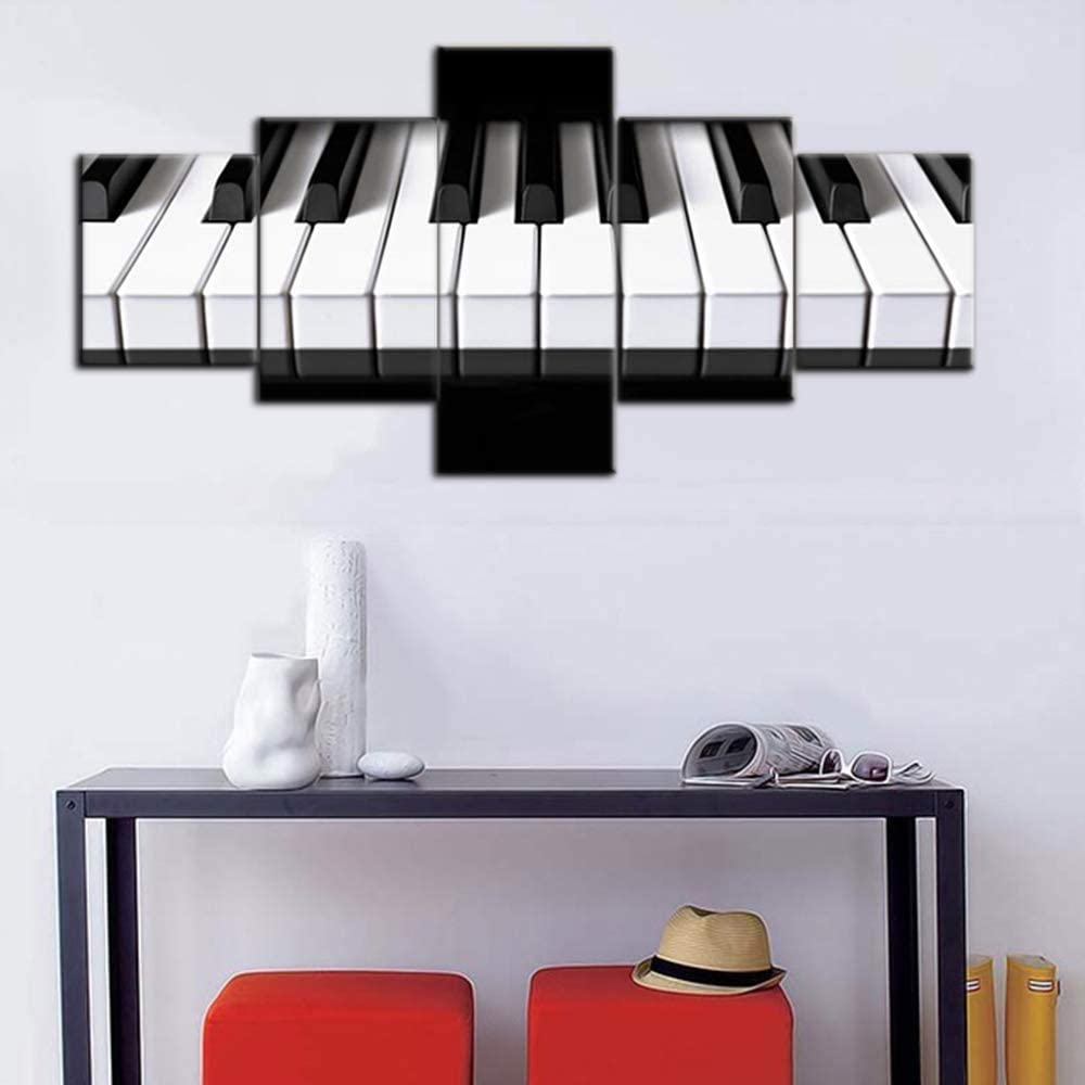 Amazon Com Black And White Bedroom Wall Decor Piano Keys Paintings Keyboard Pictures Music Wall Art 5 Piece Canvas Modern Artwork Home Decor For Living Room Framed Gallery Wrapped Ready To Hang 50 Wx24 H Home