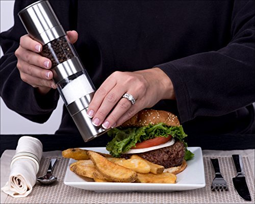 Swiffe 2 in 1 Salt and Pepper Grinder Shaker - Adjustable Coarseness - Stainless Steel and Acrylic - Good Fresh Grind - Great for Gourmet Kitchen Chefs - Stylish Classic Design Nice On Table
