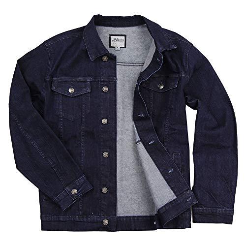 Men's Classic Comfort Fit Denim Jacket (Indigo, Large)