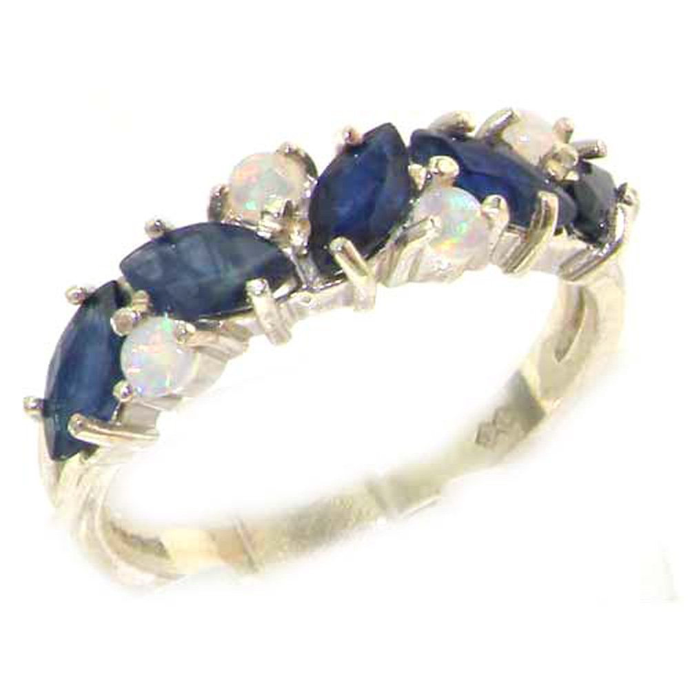925 Sterling Silver Natural Sapphire & Opal Womens Eternity Ring - Sizes 4 to 12 Available