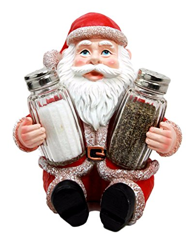 Ebros Jolly Seasons North Pole Santa Claus Salt And Pepper Shakers Holder Set Resin Figurine With Glass Shakers