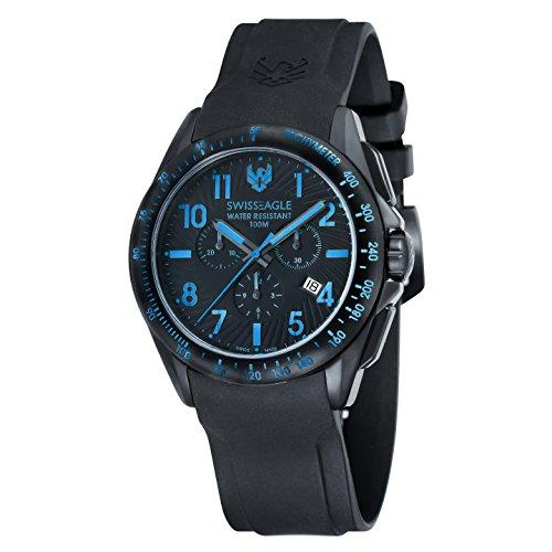 Swiss Eagle TACTICAL Chronograph Men Black Silicon Strap Watch - SE-9061-06