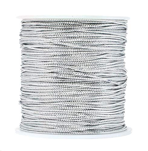 1mm Metallic Silver Cord String Non Stretch Thread for Jewelry Craft Making, Hang Tags, 100 Meters/ 109 Yards ()