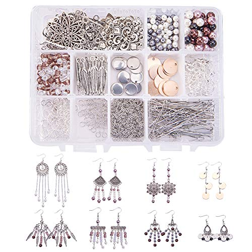 SUNNYCLUE 600+ Pcs 15 Pairs Tibetan Antique Silver Chandelier Bohemian Circle Long Sequins Tassel Feather Charm Pearl Beaded Drop Dangle Earrings Jewelry Making Kit for Teens and Adults DIY Craft -