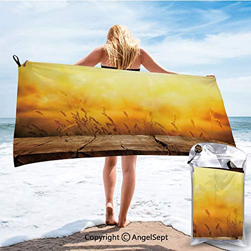 RWNHome Towel Fashion Beach Towels for Travel - Quick Dry,Empty Wooden Tabletop Layout Setting Sun Afternoon Wheat Agriculture Brown Orange Yellow,27.5