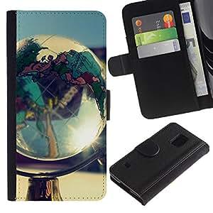 KingStore / Leather Etui en cuir / Samsung Galaxy S5 V SM-G900 / Globo de la tierra del planeta Goegraphy Continentes