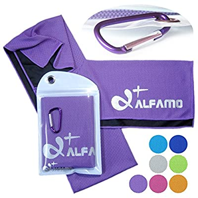 "Cooling Towel for Instant Relief - 40"" Long As a Bandana Scarf - XL Ultra Soft Breathable Mesh Yoga Towel - Keep Cool for Running Biking Hiking Basketball Football Golf and All Other Sports, Premium Waterproof Bag Packaging with Carabiner, 100% Money Back"