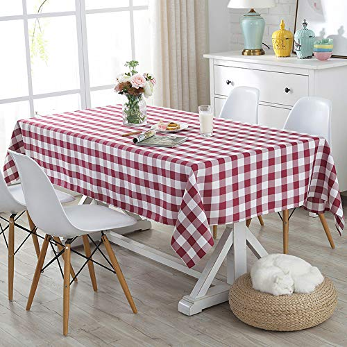 Burgundy Checkered Tablecloth,Rectangle/Oblong,Yarn-Dyed Plaid,Table Cloth for Indoor Outdoor Picnic Party Banquet,Easy Care Washable Table Cover (52 x 70 Inch) ()
