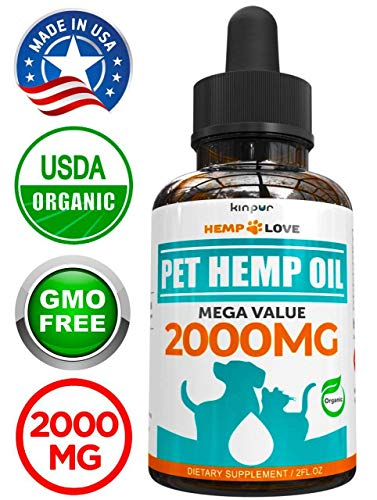 Organic Hemp Oil for Dogs & Cats - 2000mg - Premium Hemp Extract - Anxiety Relief for Dogs - Grown & Made in USA - Omega 3, 6 & 9 - Supports Hip & Joint Health - Natural Relief for Pain (Best Cbd Products For Dogs)