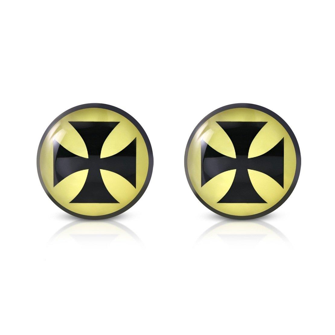 Stainless Steel 3 Color Pattee Cross Circle Stud Earrings pair