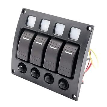 Wasserfeste LED Schalttafel mit 4 Schalter Schaltpaneel Schaltertaffel vertikal