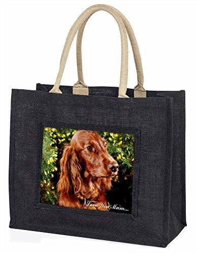 Advanta Irish Red Setter Hunde Love You Mum Große Einkaufstasche/Weihnachtsgeschenk, Jute, schwarz, 42x 34,5x 2cm