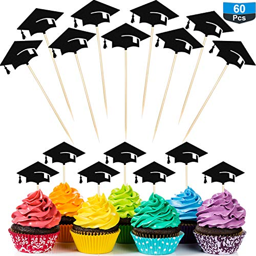 60 Packs Graduation Cake Topper Graduation Cap Toothpicks Graduation Cupcake Toppers Creative Graduation Cap Party Cake Topper, Black