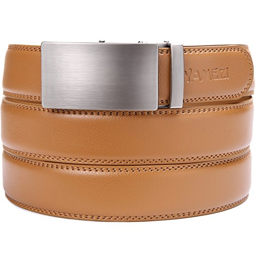 YAMEZI Men's Genuine Leather Ratchet Yellow Belt With Smooth Automatic Buckle - Leather With Logo