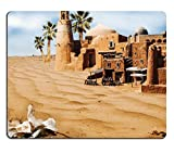 MSD Natural Rubber Mousepad bones in desert Old fabulous city with palm trees an oasis mirage IMAGE 22027657