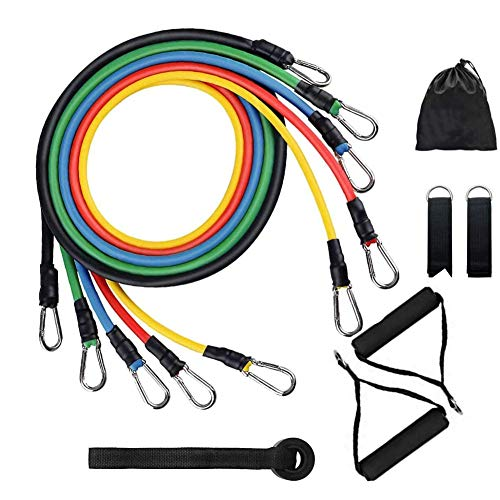 11 Pcs Exercise Resistance Bands Set, Fitness Resistance Bands with 5 Loop Tubes Up to 100 lbs, Handles, Door Anchor…