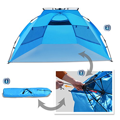 Strong Camel Easy Setup Beach Tent Large Portable Sun Shelter Instant Tent with Carrying Bag-Blue
