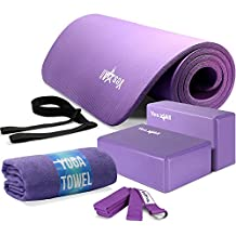 Yes4All Yoga Starter Set Kit - Includes NBR Exercise Mat, Yoga Block, Yoga Towel & Yoga Strap - Choose Your Color (Purple Set)