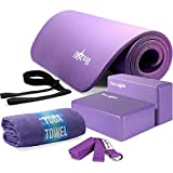 Search : Yes4All Yoga Starter Kit – Include: 2 Yoga Blocks, Yoga Strap with D-ring, Yoga Towel & NBR Yoga Foam Mat – Yoga Kit for Beginners (Purple)