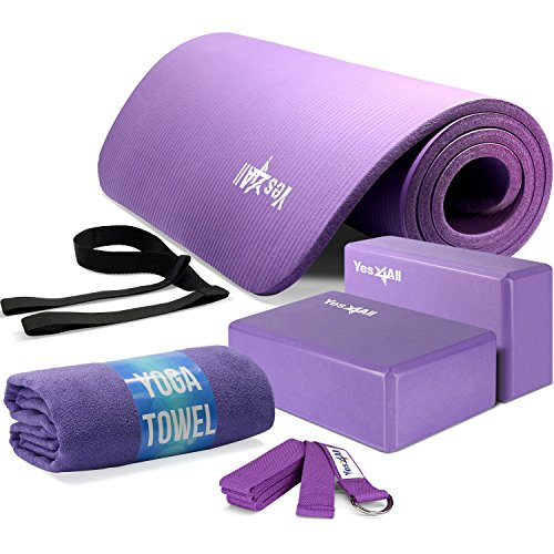 Yes4All Yoga Starter Kit – Include: 2 Yoga Blocks, Yoga Strap with D-ring, Yoga Towel & NBR Yoga Foam Mat – Yoga Kit for Beginners (Purple)