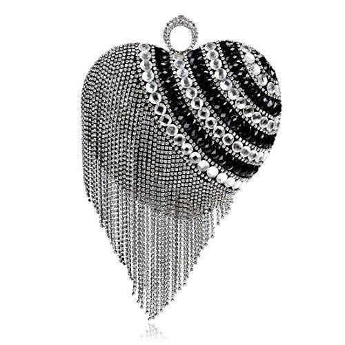 Gold Tassel Wedding Crystal Flada Bags Clutch Shape Luxury Beaded Purse Party Black Evening Heart gwxqZ7a