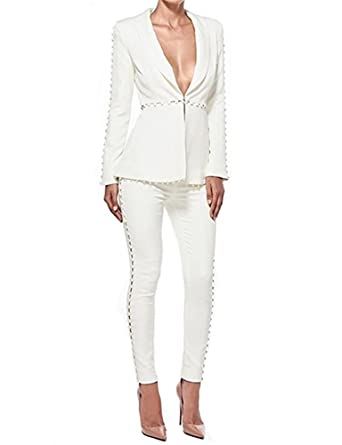a18743fbd3e1 BeneGreat Women s 2 Pieces Long Sleeve Slim Fit Lapel Blazer Jacket and Pants  Suit Sets White