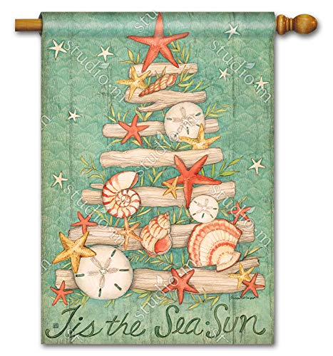 BreezeArt Studio M Sea Sun Wishes Decorative Standard House Flag Banner - Premium Quality, 28 x 40 Inches ()