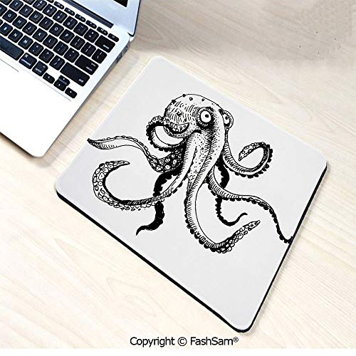 (Personalized 3D Mouse Pad Smiling Shy Octopus Posing Restaurant Comic Fun Doodle Art Illustration Print for Laptop Desktop(W9.85xL11.8))