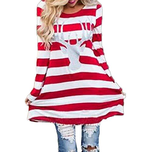OWMEOT Women's Christmas Party Reindeer Sequin Print Stripe Elk T-Shirt Dress Top (Red, L) ()