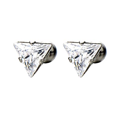 6466c132f Amazon.com: 6.8mm Triangle Cubic Zirconia Stud Earrings for Men Women, Stainless  Steel, Screw Back Post, 2pcs: Jewelry