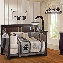 BabyFad Teddy Bear 10 Piece Baby Boy's Crib Bedding Set